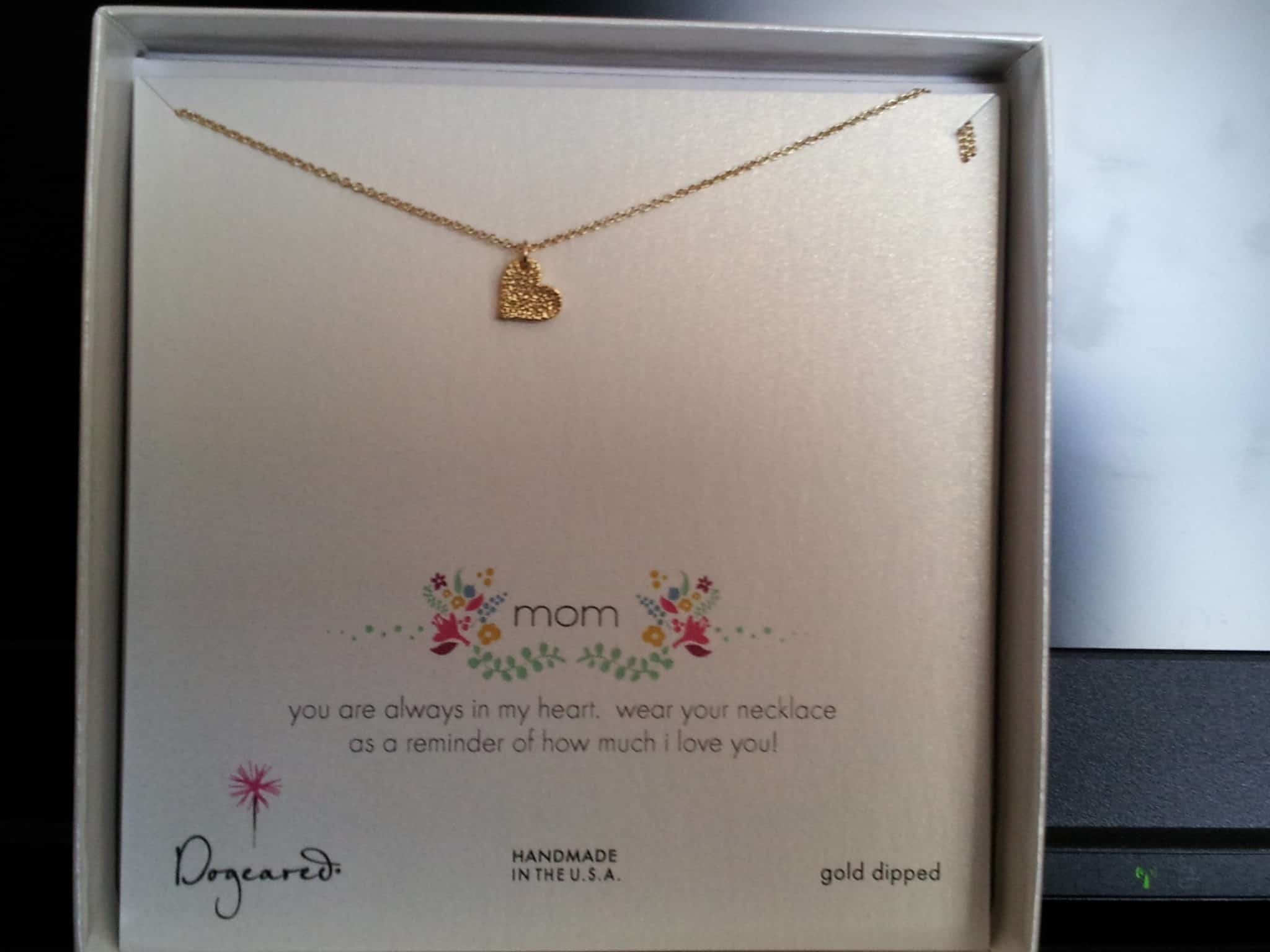 Mother's Day Gold Heart Charm Necklace Review and Giveaway