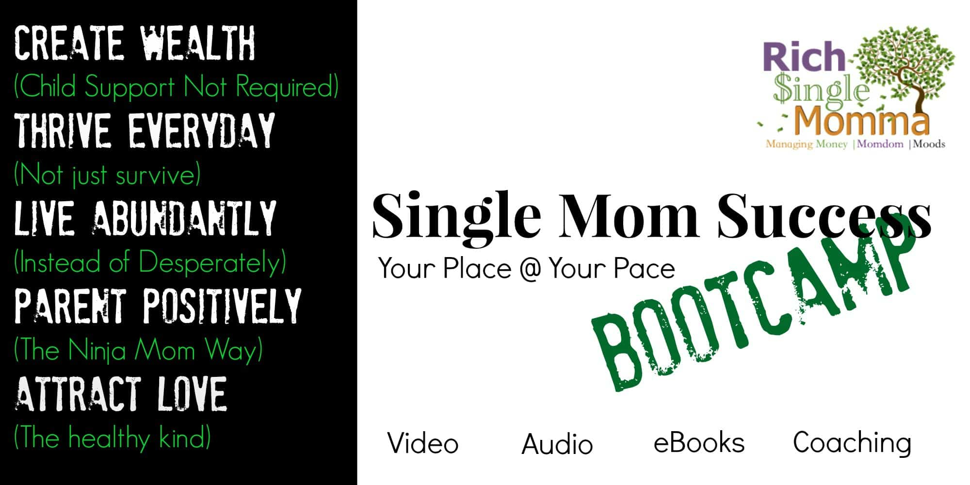 single mom success bootcamp for positive single moms who are ready to thrive, be successful and leave a lasting legacy for their kids